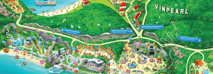 Подробная карта парка Винперл в Нячанге, Вьетнам