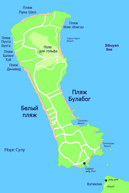 Пляжи Боракая на карте