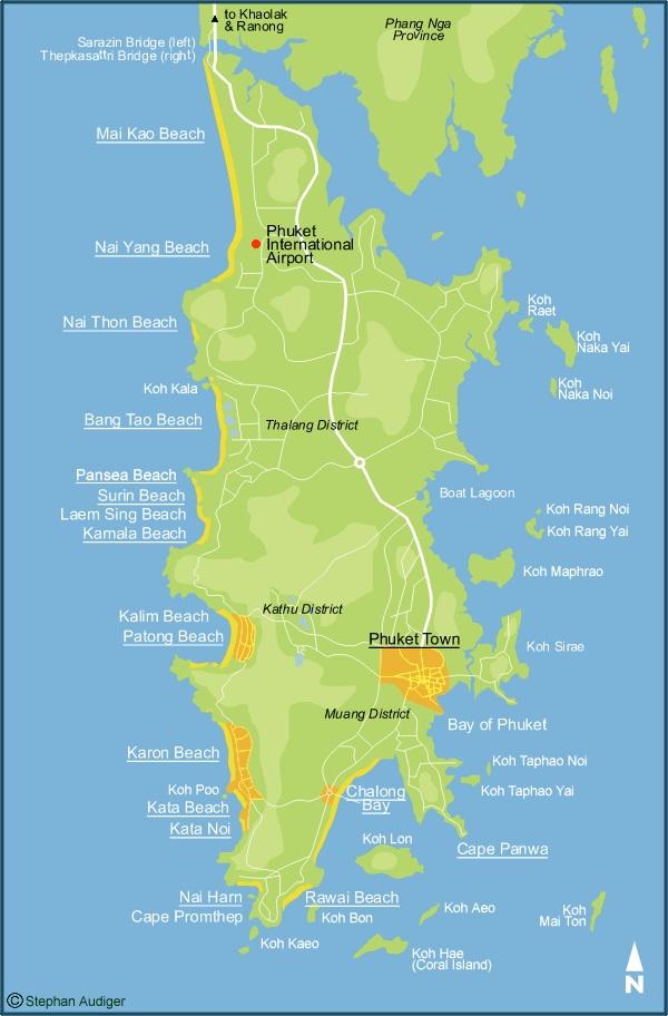 Карта Пхукета с пляжами на русском языке, Таиланд