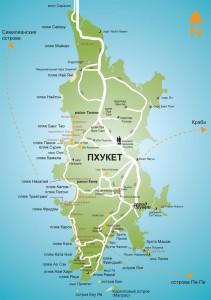 Карта Пхукета с пляжами и отелями на русском языке