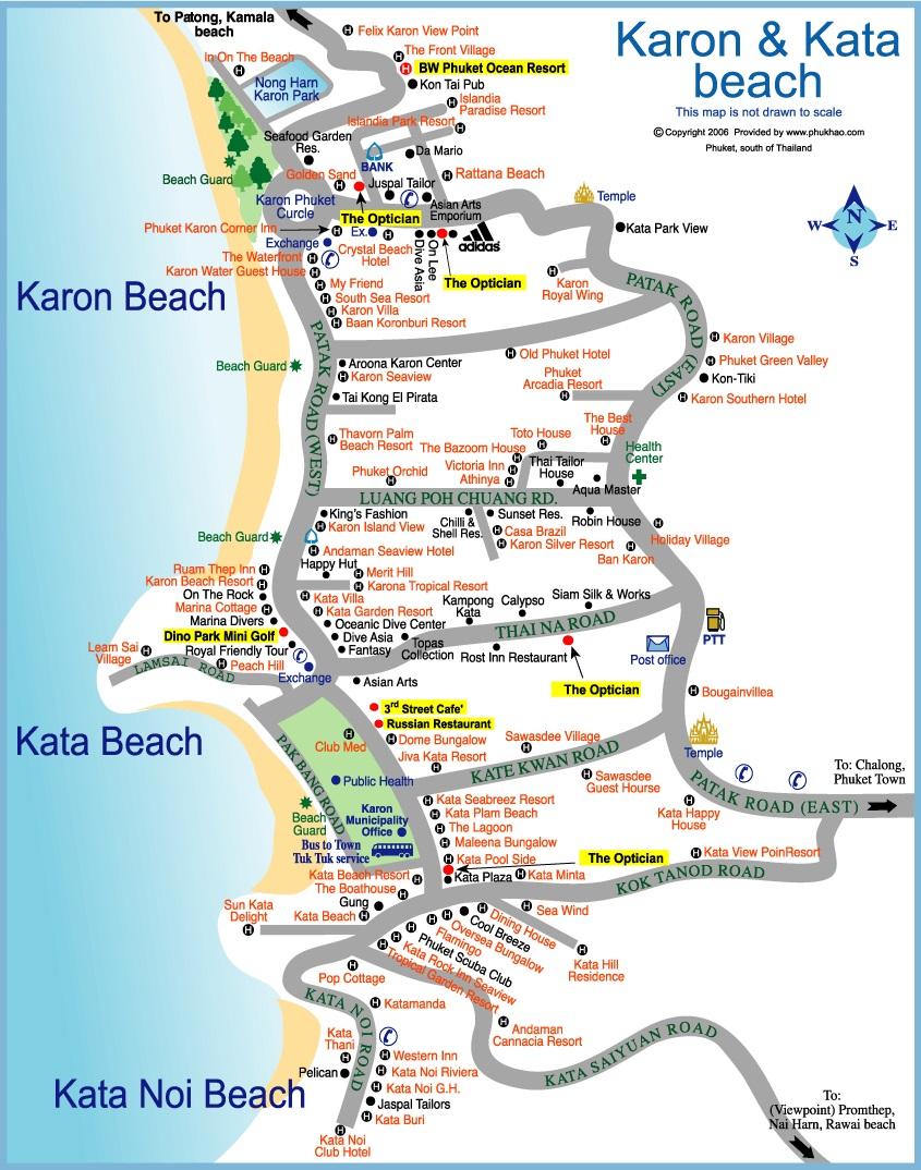 Карта пляжей Ката и Карон на Пхукете