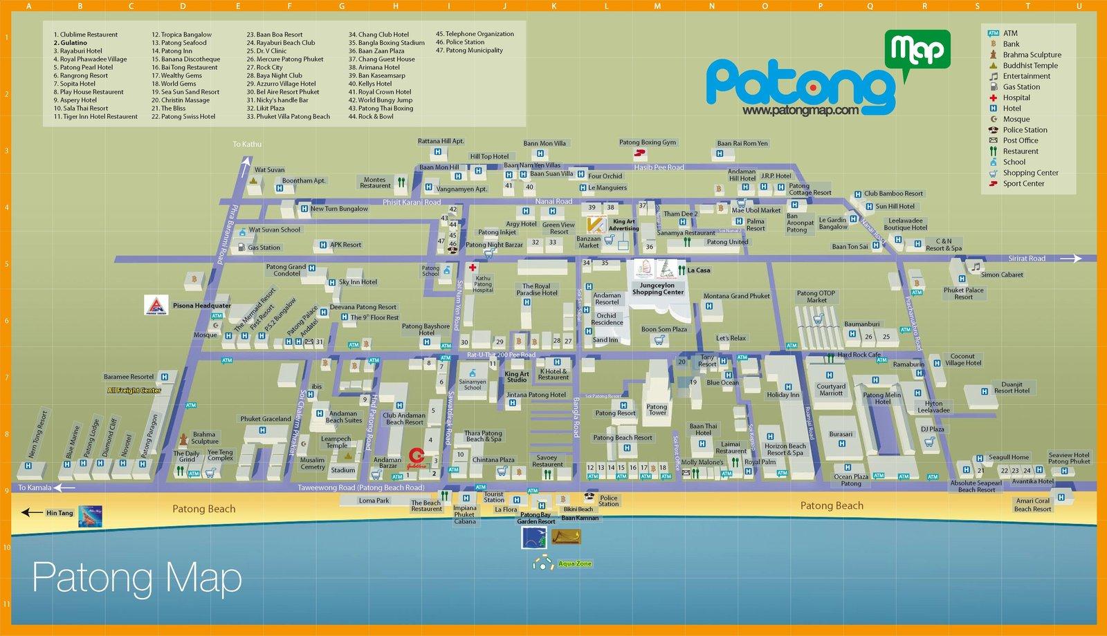 Карта пляжа Патонг с магазинами и отелями