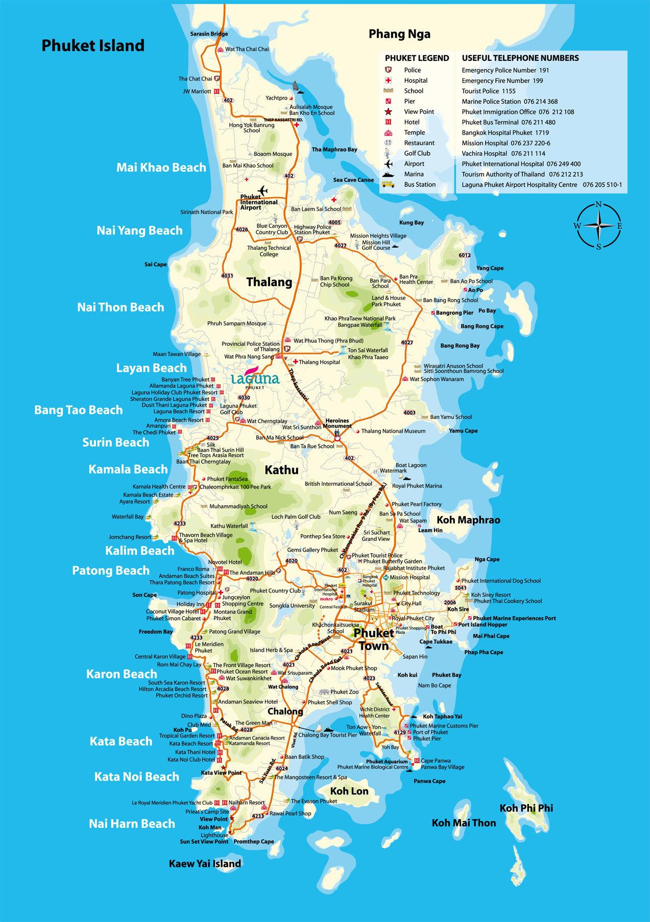 Пляжи, отели и резорты на карте Пхукета