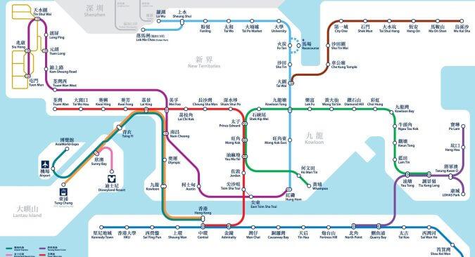 Карта метро Гонконга на русском языке